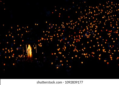 Lourdes / France - july 17 2011: Virgin Mary in front of the candle procession, every night in Lourdes, France.