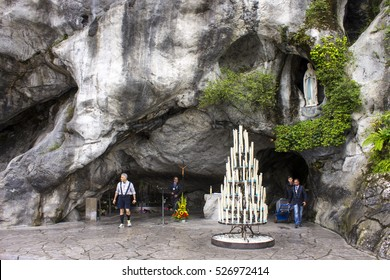LOURDES, FRANCE - July 31, 2016: The Sanctuary of Our Lady of Lourdes, a destination for pilgrimage in France famous for the reputed healing power of its water.