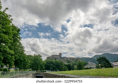 Lourdes, Midi-Pyrénées, France; June 2015: The chateau fort de Lourdes is a historic castle located in Lourdes in the Hautes-Pyrenees departement of France. Musee Pyreneen is located in the fort.