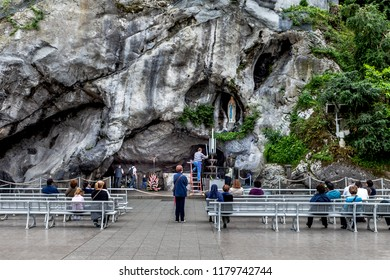 Lourdes, France - May 13, 2011: Preparations are being made for a service for a pilgrimage at The Sanctuary of Our Lady of Lourdes in France famous for the possible healing power of the water.