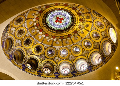 LOURDES, FRANCE - MAY 13, 2011: Interior view of the dome inside the Rosary Basilica in Lourdes.