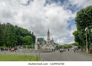 Lourdes, Midi-Pyrenees, France; June 2015:  Our Lady of Lourdes Basilica in Lourdes, France.