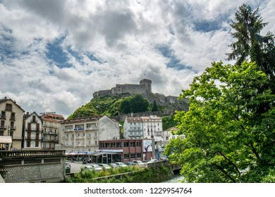 Lourdes, Midi-Pyrenees, France; June 2015:  The chateau fort de Lourdes is a historic castle located in Lourdes in the Hautes-Pyrenees departement of France. Musee Pyreneen is located in the fort.
