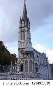 Lourdes. October-21-2009. Cathedral of Lourdes in South-France