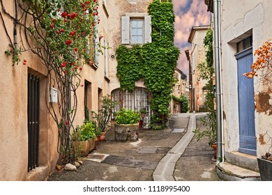 Lourmarin, Vaucluse, Provence, France: picturesque ancient alley in the old town with plants and flowers