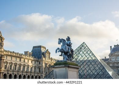 Lourve Paris, France - January 03, 2016 Part of Lourve Museum. The Louvre Museum is one of the world's largest museums and a historic monument. A central landmark of Paris, France. in evening light