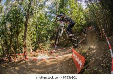 LOUSA, PORTUGAL - MARCH 11: Pablo Lago competes during the 2nd Stage of the Taca de Portugal Downhill Vodafone on March 11, 2012 in Lousa, Portugal.l.