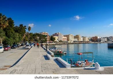 LOUTRAKI, GREECE - JANUARY 2016: Scenic view of the beautiful coastal town Loutraki. It is a seaside resort on the Gulf of Corinth, in Corinthia, Greece, Europe.