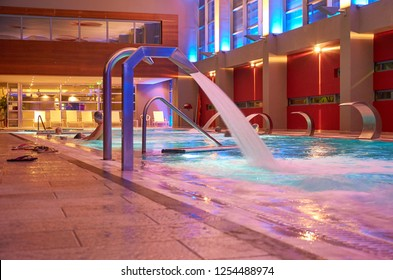 LOUTRAKI, GREECE - JANUARY 2016: The Loutraki Thermal Spa is an impressive establishment where visitors enjoy balneology spa treatments and wellness sessions in a luxurious environment