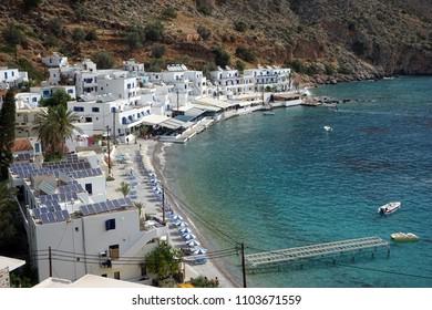 LOUTRO, GREECE - CIRCA MAY 2018 Village on the south coast of Crete island, Greece