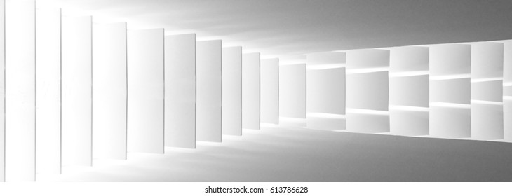 Louvered / stair-step structure. Reworked wide-angle photo of vertical jalousie / louvers / blinds. Unusual abstract black and white image on the subject of modern architecture and interior.