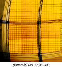 Louvered structure in bright yellow color. Reworked photo of an office building interior fragment. Abstract checkered background on the subject of modern architecture, industry or technology.