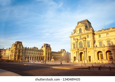 Louvre Palace and the pyramid in Paris, France