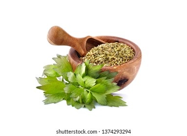 Lovage, Levisticum officinale. Lovage fresh and dried Isolated on white backgrounbd.