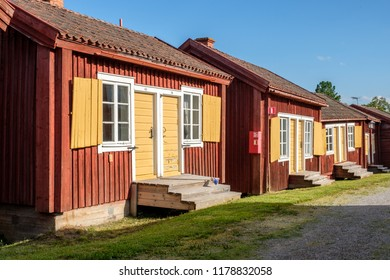 LOVANGER, SWEDEN - AUGUST 9, 2018: Lovanger church town in northern Sweden dates back to the 17th century and consists of 117 cottages of which many are used for hostel lodging.
