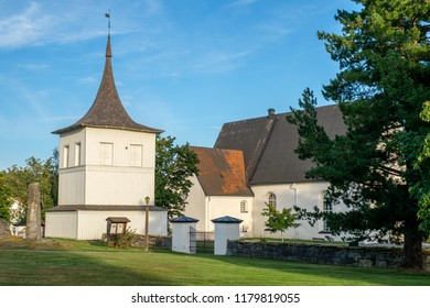 LOVANGER, SWEDEN - AUGUST 9, 2018: Lovanger church in northern Sweden was completed around 1500. Its is surrounded by a famous church town.