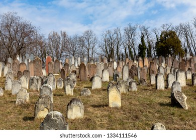 Lovasbereny Hungary Mar 2 2019: Jewish headstones in a  ancient Jewish graveyard - dating back to the 1700's