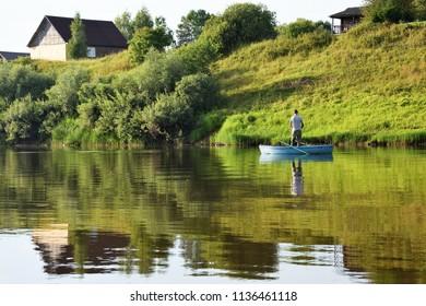 Lovat river valley at sunny day. Russia, Novgorod region, Cherenchitsy village