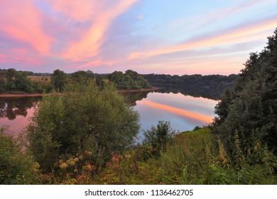 Lovat river valley at sunset. Russia, Novgorod region, Cherenchitsy village