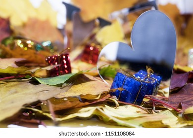 Love abstraction. Autumn leaves with some decorative elements.