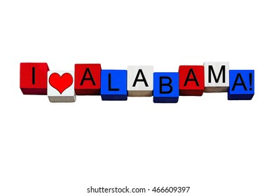 I Love Alabama, Heart of Dixie, sign for American culture, USA vacations, US states and travel destinations - design / banner / word - in national flag colors - isolated on white background.
