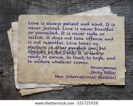 Love Always Patient Kind Never Jealous Stock Photo Edit Now