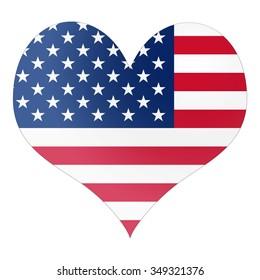 I love America heart shape symbol with white isolated background