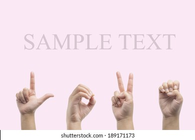 Love american sign language on pink background