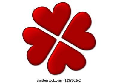 Love background - lucky in love. Four hearts creating four-leaf clover shape