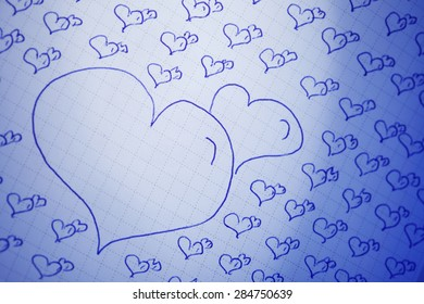 Love background with love you, miss you message, feeling when confession on abstract paper background, can use on valentine day, mother day or celebrate love day, Paper love message with blue light