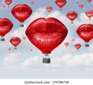 Love balloons as a hot air balloon made of human red lips soaring up to the blue sky as a surreal dreamy romantic passion concept and emotional trip or freedom discovery travel.