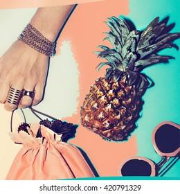 Love Beach. Love  Summer.  Love Vacation. Set Fashion Accessories
