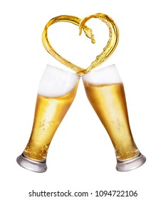 love to beer concept two glasses toasting and creating splash of heart shape isolated on white background