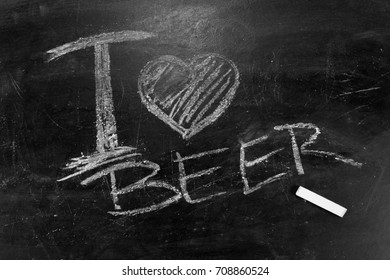 I love beer the inscription chalk on a blackboard