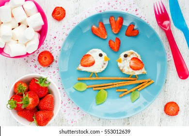 Love Birds sandwich from pancake with cream and strawberry - Valentines Day wedding or kids funny breakfast