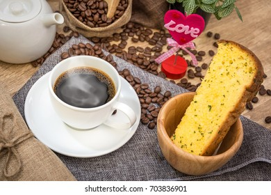 I Love Coffee with Ham cheese bread