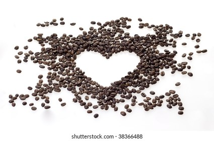 Love for coffee - heart of coffee beans