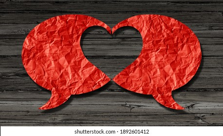 Love communication and valentines day dialogue or dating connection and lovers couple relationship or romantic talk.