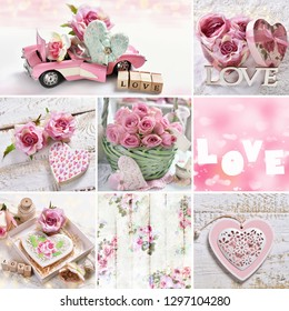 love concept collage with hearts,roses and other symbols in pink color