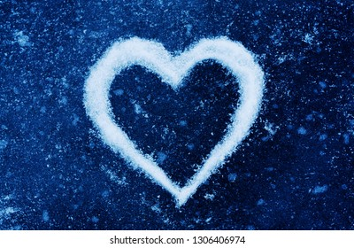 love concept, heart symbol on ice, valentine day