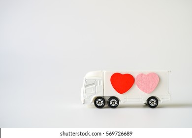 Love Concept of Many Heart Sign loading / carry on White Truck, Lovely Heart, A Perfect Gift or Present for Someone Special, Valentines Day background