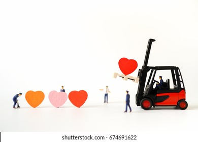 Love Concept of Red Heart Sign loading / carry on Forklift Truck, Lovely Heart, A Perfect Gift or Present for Someone Special, Valentines Day background