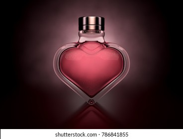 A love concept showing a heart shaped glass bottle of red perfume on a dark backlit background - 3D render
