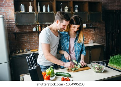 Love couple cook together.