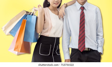 love couple go to shopping on yellow background