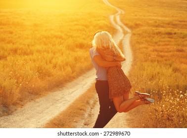 Love Couple in love romantic road summer field happy