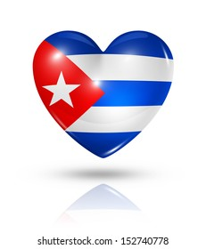 Love Cuba symbol. 3D heart flag icon isolated on white with clipping path