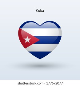 Love Cuba symbol. Heart flag icon. See also vector version.