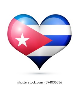 Love Cuba symbol Heart flag icon.