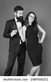 love date and romance. formal couple. business meeting. valentines day heart. bearded businessman with lady on date. tuxedo man and elegant woman at formal party. sexy couple in love. best date ever.